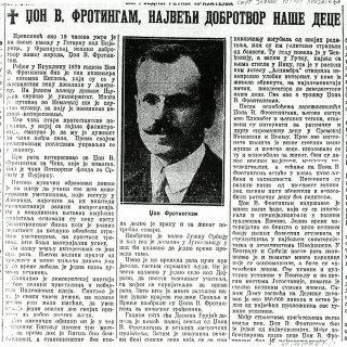 Smrt jednog retkog prijatelja - Politika - o najvećem dobrotvoru naše dece, 22.11.1935.