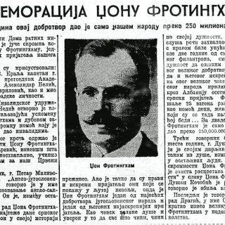 Komemoracija Džonu Frotingamu u Beogradu, Politika 22.11.1937.