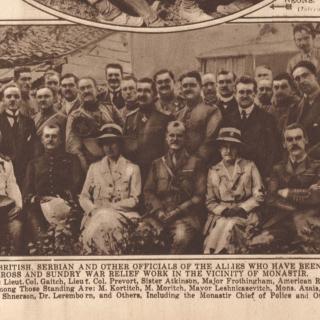 Misije Crvenog krsta Srbije, Engleske i Amerike u Monastiru (Bitolju), s leva, puk. Gajic, Atkinson, Ftrothingham, Lyn Jones, dr Haigh, New York times 13.10.1918.