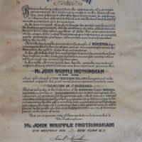 Bohemijan Resolution Džonu Frotingamu za njegovu pomoć od 5.000 dolara