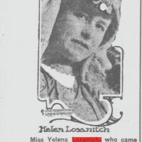 Jelena Lozanić u narodnoj nošnji iz okoline Bitolja. Izvor: njujorška Tribuna,17.6.1920.